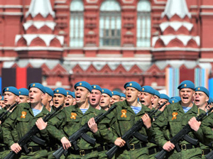 Binh sĩ Nga tham gia diễu binh.