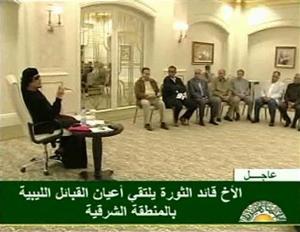 Ông Gadhafi trong buổi tiếp các lãnh đạo bộ lạc hôm thứ tư vừa qua