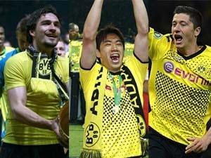 Bộ ba Hummels, Kagawa và Lewandowski. (Nguồn: Getty Images)