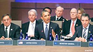 Tổng thống Mỹ Barack Obama và Tổng thư ký NATO Anders Fogh Rasmussen chủ trì cuộc họp.