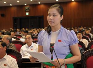 Đại biểu Bạch Thị Hương Thủy phát biểu tại kỳ họp.
