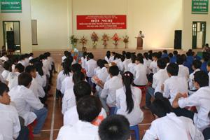 Lãnh đạo Sở LĐ-TB&XH phát biểu khai mạc hội nghị.