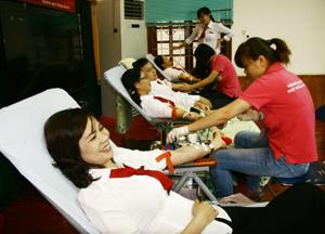 Cán bộ, ĐV - TN hội sở và các Chi nhánh Agribank trên địa bàn thành phố Hòa Bình hiến máu tình nguyện.