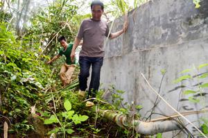 Sau 3 năm bị bỏ hoang, cây rừng phủ kín nhưng hệ thống bể nước và đường ống của công trình vẫn còn mới.