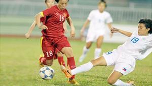 Minh Nguyệt (trái) trong trận đấu với ĐT nữ Philippines. (ảnh: VFF)