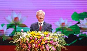 Thay mặt lãnh đạo Đảng, Nhà nước, Tổng Bí thư Nguyễn Phú Trọng đọc diễn văn tại Lễ kỷ niệm 125 năm Ngày sinh Chủ tịch Hồ Chí Minh (19-5-1890 - 19-5-2015). (Ảnh: Đăng Khoa)