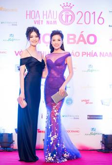 Hoa hậu Thùy Dung, hoa hậu Kỳ Duyên tại cuộc họp báo về cuộc thi Hoa hậu Việt Nam năm 2016.
