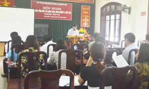 Đồng chí Bùi Văn Mức, Cục trưởng Cục Thống kê tỉnh, Phó Trưởng BCĐ tỉnh phát biểu khai mạc hội nghị.