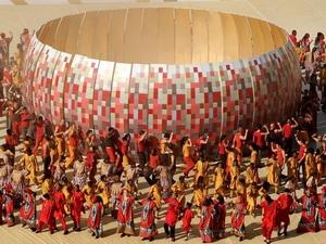 Các diễn viên múa Nam Phi biểu diễn tại lễ khai mạc World Cup 2010.