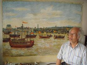 Họa sĩ Trịnh Quang Vũ và bức tranh phục chế Thành Thăng Long thế kỷ XVIII