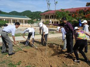 Trong khuôn khổ chương trình, lãnh đạo UBND huyện Cao Phong tham gia trồng cây xanh tại trường THCS xã Nam Phong, huyện Cao Phong.