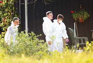 Các chuyên gia y tế Đức kiểm tra một nông trại tại Bienenbuettel, vùng hạ Saxony.