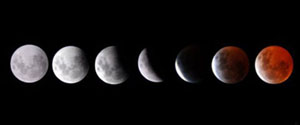 Mặt trăng bị che khuất bởi trái đất trong hiện tượng nguyện thực toàn phần.