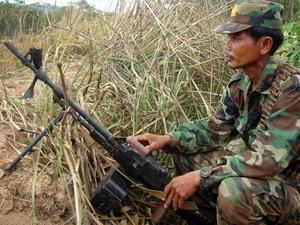 Binh sỹ Campuchia tại khu vực biên giới thuộc tỉnh Oddar Meanchey.