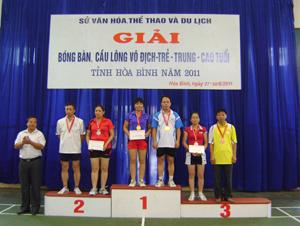 Ban tổ chức trao giải cho các VĐV có thành tích cao tại nội dung cầu lông đôi nam nữ tuổi 36- 48.