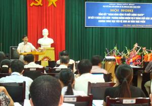 Đ/c Bùi Văn Cửu, Phó Chủ tịch UBND tỉnh phát biểu chỉ đạo tại hội nghị.