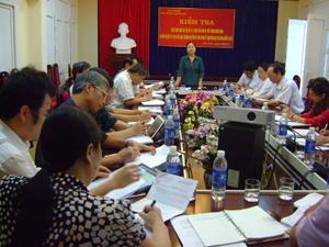 Đồng chí Hoàng Thị Chiển, Trưởng Ban Dân vận Tỉnh uỷ, Phó Ban Thường trực BCĐ thực hiện QCDC tỉnh kết luận tại buổi làm việc.