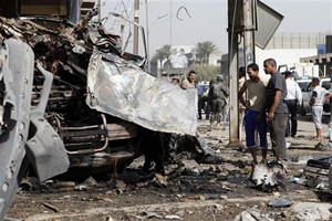 Hiện trường một vụ đánh bom ở Bát -đa.