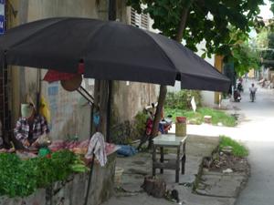 Việc buôn bán thịt lợn tại các điểm buôn bán nhỏ lẻ là những mối nguy hiểm lây lan dịch bệnh cho người tiêu dùng. Trong ảnh: một điểm bán thịt lợn tại tổ 14, phường Đồng Tiến, TPHB.