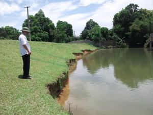 Công trình hồ Khoang Bưởi (xã Cư Yên) bị sạt lở nặng phần thân đập, có nguy cơ mất an toàn cao nếu có mưa to, lũ lớn.