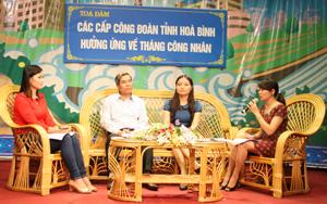 Chị Vân tham gia tọa đàm vớilãnh đạo LĐLĐ tỉnh và phóng viên đài PT-TH tỉnh nhân dịp hưởng ửng