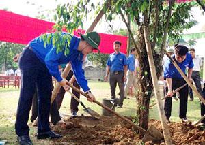 Đại diện lãnh đạo Tỉnh đoàn và ĐVTN trồng cây, hưởng ứng chiến dịch thanh niên tình nguyện hè 2014.