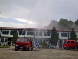 Cảnh sát PCCC&CN, CH phối hợp với Công ty may GGS Việt Nam tổ chức diễn tập phương án phòng, chống cháy nổ.