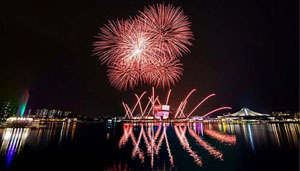 Màn trình diễn pháo hoa trong Lễ khai mạc SEA Games 28 tối 5-6. (ảnh: Ban tổ chức SEA Games 28).
