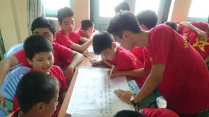 """Các học viên tham gia chương trình """"Học kỳ quân đội"""" TP Hòa Bình khóa I thảo luận nhóm, phát triển kỹ năng xã hội."""