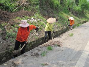 Tại tuyến quốc lộ 6, địa phận dốc Má, xã Thu Phong (Cao Phong) được thường xuyên tu sửa, vét rãnh dọc, phát quang hành lang tuyến đảm bảo an toàn giao thông mùa mưa bão.