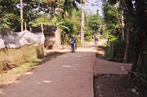 Hệ thống đường GTNT liên xóm của xã Liên Vũ cơ bản được bê tông hóa đáp ứng nhu cầu đi lại của nhân dân.