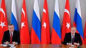 Tổng thống Thổ Nhĩ Kỳ Recep Tayyip Erdogan (trái) và người đồng cấp Nga Vladimir Putin. (Ảnh: RIA Novosti/Reuters)