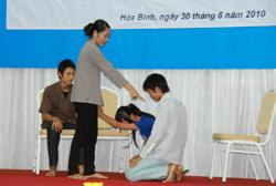 Tiểu phẩm về SKSS do học sinh huyện Cao Phong thể hiện