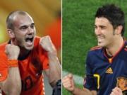 Wesley Sneijder (Hà Lan) - ảnh trái - và David Villa (Tây Ban Nha) - ai sẽ nâng cúp vàng và ai sẽ là vua phá lưới?
