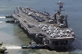 Tàu sân bay Mỹ USS George Washington đã cập cảng Busan, Hàn Quốc để tham gia tập trận.