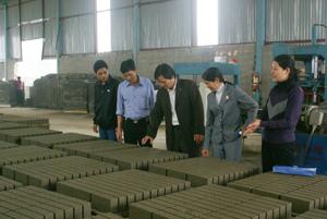 CCB Đinh Ý Quỳnh (đứng giữa), xã Mông Hoá (Kỳ Sơn) giới thiệu sản phẩm gạch bêtông công nghệ cao do Công ty làm ra.