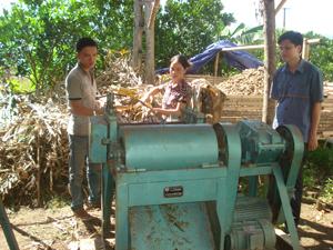Cán bộ Viện Chăn nuôi hướng dẫn kỹ thuật chế biến thức ăn cho gia súc bằng thân cây ngô già cho nông dân xã Hào Lý (Đà Bắc).