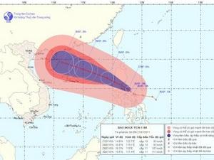 Vị trí và đường đi của cơn bão Nock Ten. (Ảnh: Trung tâm Dự báo Khí tượng Thủy văn Trung ương).