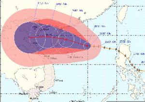 Bản đồ vị trí và dự báo đường đi của bão số 3 - (Nguồn: Trung tâm dự báo khí tượng thủy văn T.Ư).