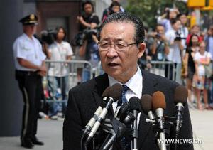Thứ trưởng Ngoại giao Triều Tiên Kim Kye-Gwan phát biểu với báo giới sau cuộc hội đàm.