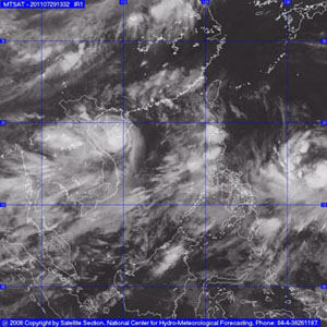 Bão số 3 đã đang áp sát vùng biển Thái Bình - Hà Tĩnh.