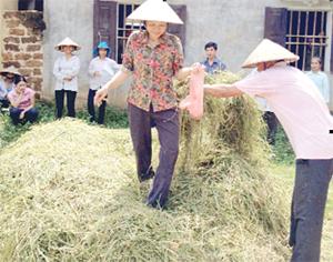 Nông dân xã Vĩnh Đồng (Kim Bôi) thực hành chế biến phân bón hữu cơ từ rơm, rạ.