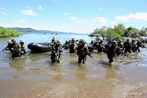 Lính Mỹ và Philippines tập trận chung ở đảo Palawan (Philippines) tháng 4.2012.