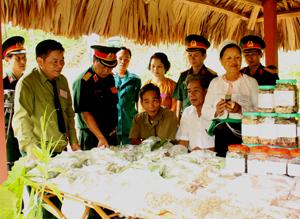 Đồng chí Hoàng Việt Cường, Bí thư Tỉnh ủy cùng các đồng chí lãnh đạo Bộ CHQS tỉnh, huyện Kỳ Sơn thăm quan khu trưng bày sản phẩm thuốc của các đơn vị tham dự hội thi.