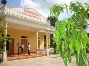 Cán bộ phòng văn hoá huyện, xã và cán bộ thôn Đồng Bầu (xã Lạc Long) trao đổi về việc nâng cao chất lượng hoạt động nhà văn hóa.