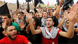 Người Palestine ở Jordan biểu tình đòi chấm dứt bạo lực ở Gaza ngày 28-7 - Ảnh: Reuters