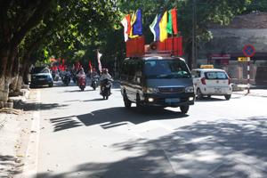 Đoàn diễu hành cổ động ngày BHYT toàn dân tại thành phố Hòa Bình.
