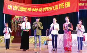 Trẻ em trao thông điệp đến lãnh đạo, đại diện ban, ngành tại diễn đàn trẻ em huyện Cao Phong.