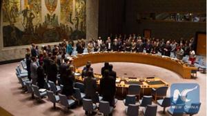 Đại diện của 15 nước thành viên Hội đồng Bảo an Liên hợp quốc tưởng niệm các nạn nhân vụ rơi máy bay MH17 tại trụ sở của Liên hợp quốc, ở TP New York, Mỹ, ngày 29-7-2015. (Ảnh: Xinhua)