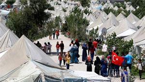 Người dân Xy-ri sống trong một trại tị nạn ở nước láng giềng Thổ Nhĩ Kỳ.